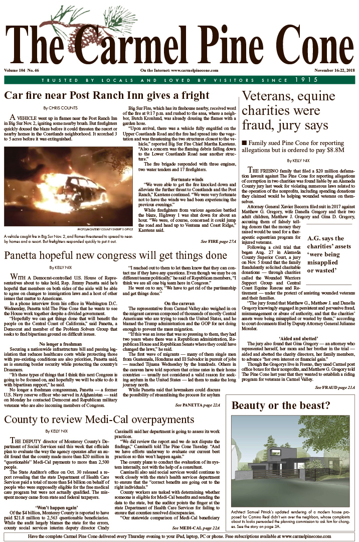 The Carmel Pine Cone's                   latest front page